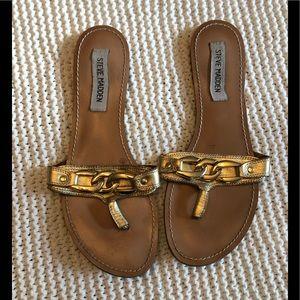Steve Madden Shoes - Steve Madden Gold Flip Flops